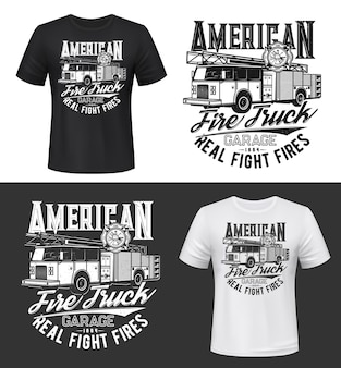 T-shirt druck mit amerikanischem feuerwehrauto-modell