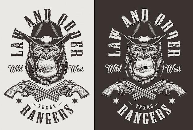 T-shirt druck mit gorilla-konzept