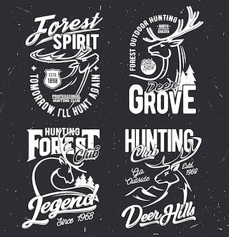T-shirt-drucke mit hirsch-maskottchen für jagdverein