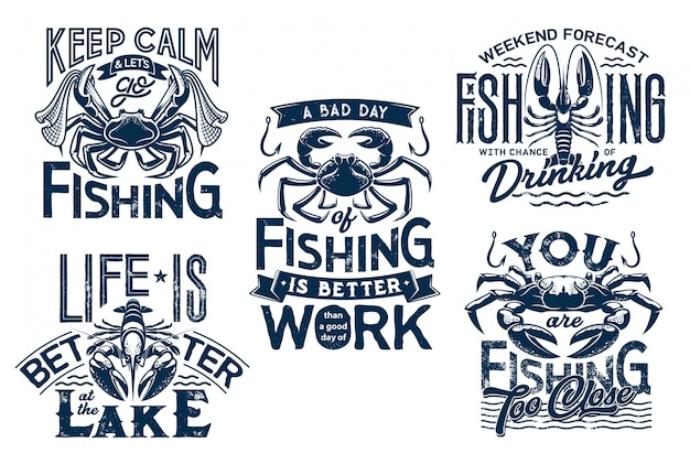 T-shirt-drucke mit hummer und krabben mit netz