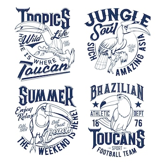 T-shirt-drucke mit tukan-maskottchen für fußballmannschafts- und sommerkleidungsdesign