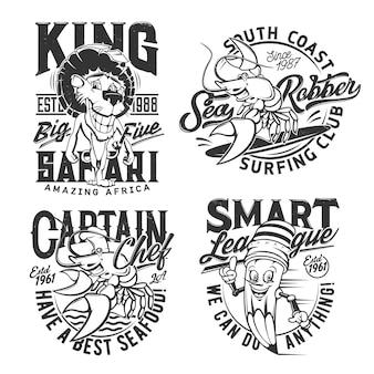 T-shirt-drucke, surfen im meer, safari-jagdclub und smart league, abzeichen