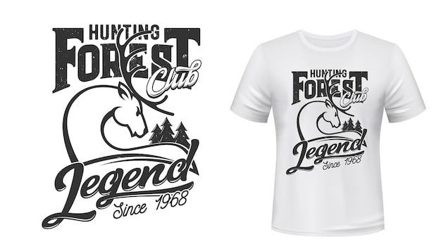 T-shirt-druckillustration des hirschjagdklubs