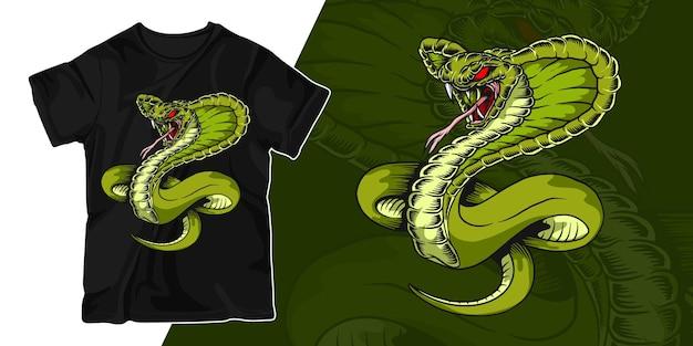 T-shirt-entwurf der grünen schlangengrafikillustration