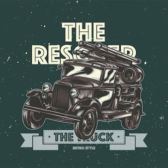 T-shirt-etikett mit illustration des vintagen feuerwehrautos.