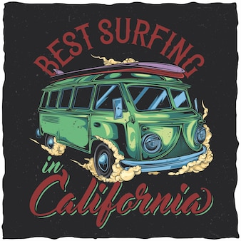 T-shirt-etikettendesign mit illustration des hippie-surfbusses