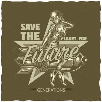 T-shirt-etikettendesign mit illustration des mädchens, das auf der bombe sitzt
