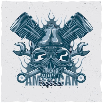 T-shirt etikettendesign mit illustration des mechanischen schädels