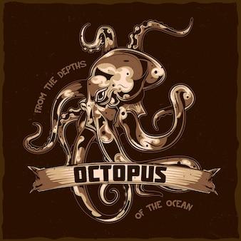 T-shirt etikettendesign mit illustration des oktopus