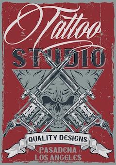 T-shirt etikettendesign mit illustration von tätowiermaschinen