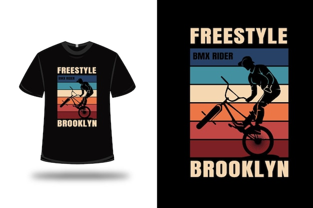 T-shirt freestyle fahrrad motocross brooklyn farbe rot creme und blau Premium Vektoren