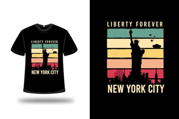 T-shirt freiheit für immer new york city auf rosa und blau