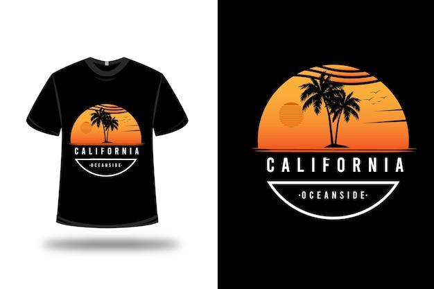 T-shirt kalifornien ozean seite farbe orange weiß Premium Vektoren