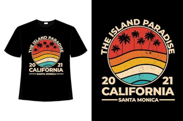 T-shirt kalifornien strandinsel paradies retro-stil