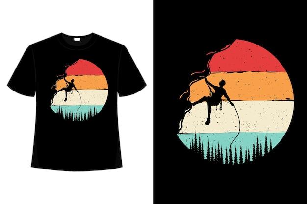 T-shirt kletterer kiefer retro-stil