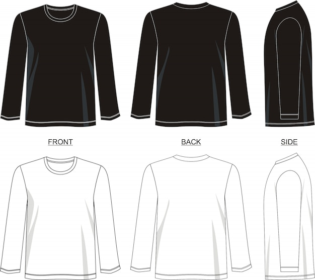 T-shirt langarm-vorlage