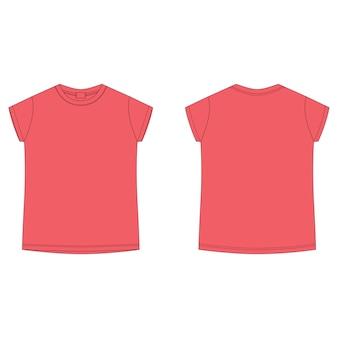 T-shirt leere schablone in der leuchtend roten farbe. technische skizze t-shirt für kinder. lässiger kinderstil. vorne und hinten.