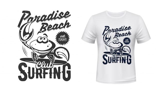 T-shirt marine print, surfclub paradies strand