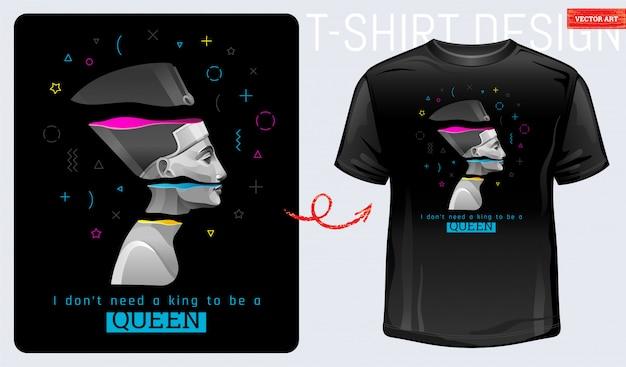 T-shirt memphis print. nofretete, kleopatra, geometrische form. feministischer cooler slogan des alten ägyptischen kraftmädchens. ich brauche keinen könig, um königin zu sein. modedesign-konzept.