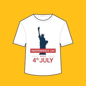 T-shirt mit freiheitsstatue american independence day hemden feier 4. juli konzept illustration