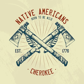 T-shirt mit indianischen traditionen. nationalamerikaner. messer und axt, werkzeuge und instrumente.