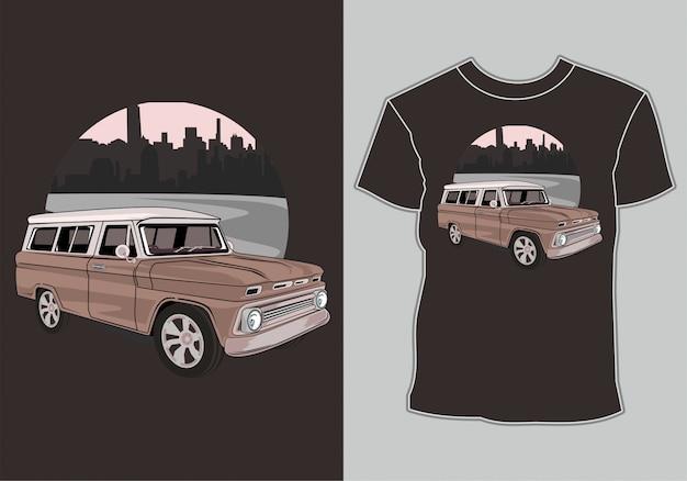 T-shirt mit kunstwerken klassisch, vintage, retro-auto in der stadt