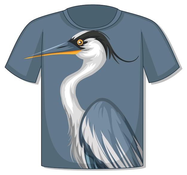 T-shirt mit reiher-vogel-muster