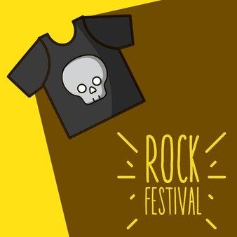 T-shirt mit schädelfelsen-festivalkarikatur