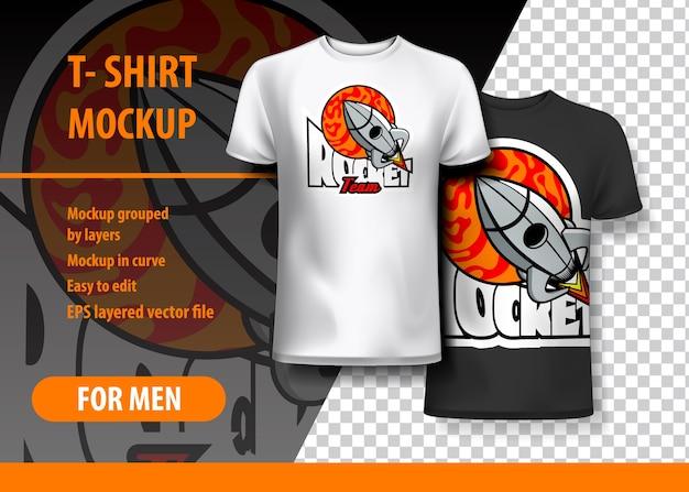 T-shirt mock-up mit rocket-schriftzug in zwei farben