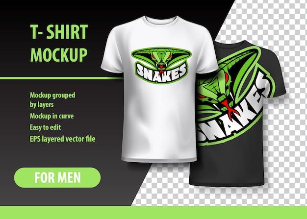 T-shirt mock-up mit schlangen-satz in zwei farben