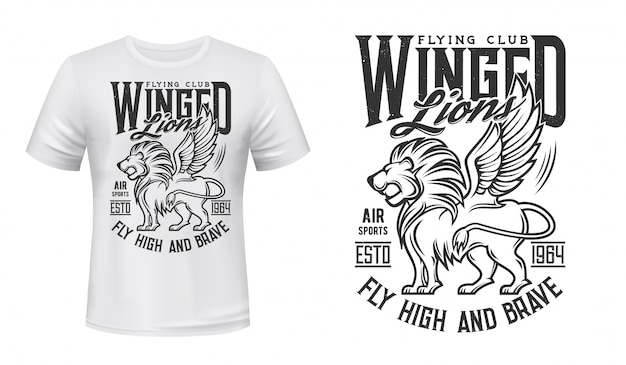 T-shirt-modell mit löwendruck, aviation flying club