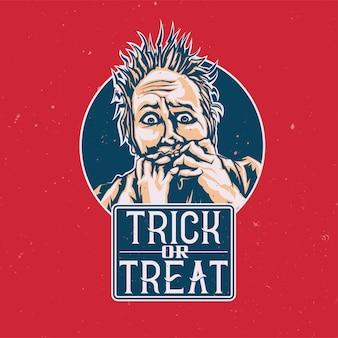 T-shirt oder plakat mit illustration der verängstigten person