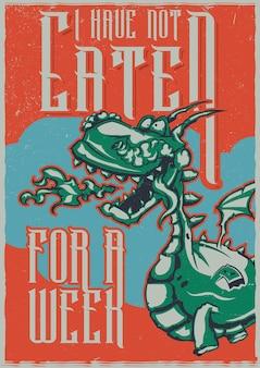 T-shirt oder plakat mit illustration des drachen