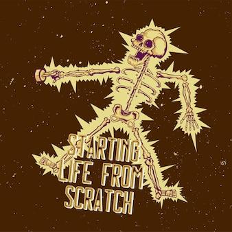 T-shirt oder plakat mit illustration des elektroschockskeletts