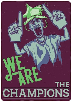 T-shirt oder plakat mit illustration des fußballfächers