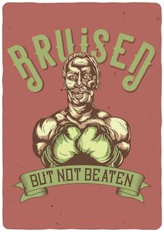 T-shirt oder plakat mit illustration des gequetschten boxers