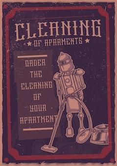 T-shirt oder plakat mit illustration des hausfrauenroboters