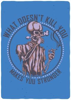 T-shirt oder plakat mit illustration des rauchenden skeletts