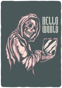 T-shirt oder plakat mit illustration des skeletts mit notizbuch