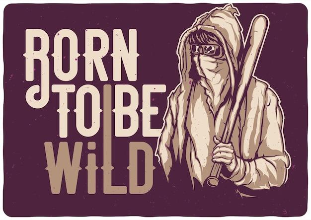 T-shirt oder plakat mit illustration des straßenbanditen