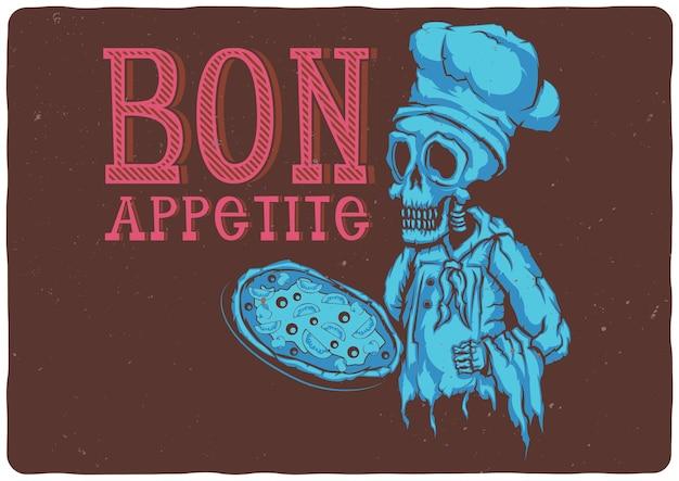 T-shirt oder plakat mit illustration des toten kochs