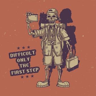 T-shirt oder plakat mit illustration des touristischen skeletts