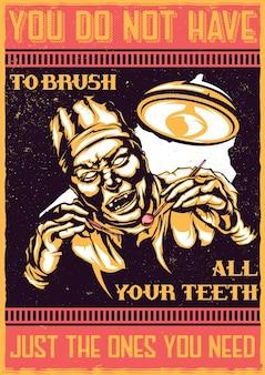T-shirt oder plakat mit illustration des unheimlichen zahnarztes