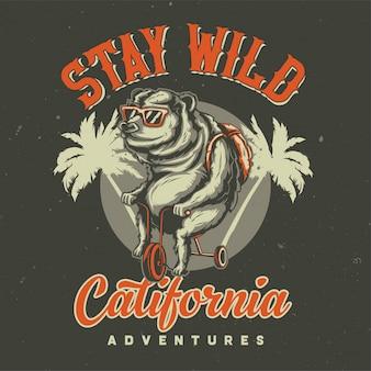 T-shirt oder plakatentwurf mit abbildung des bären auf einem fahrrad