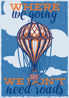 T-shirt oder plakatentwurf mit abbildung des ballons