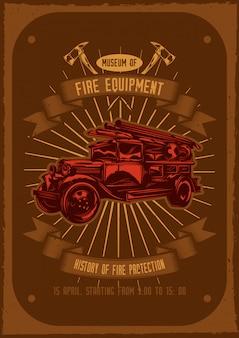 T-shirt oder plakatentwurf mit abbildung des feuerwehrautos mit äxten an.