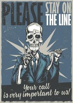 T-shirt oder plakatentwurf mit abbildung des toten call-center-betreibers