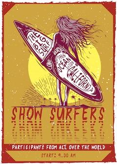 T-shirt oder plakatentwurf mit abbildung eines mädchens mit surfbrett.