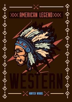 T-shirt oder plakatentwurf mit illustration der amerikanischen ureinwohner mit einem hut.