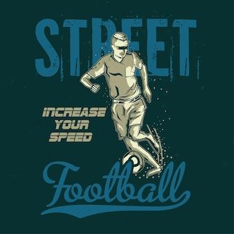 T-shirt oder plakatentwurf mit illustration des fußballspielers